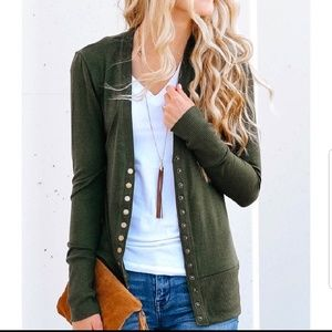 Sweaters - Olive button cardigan sweater